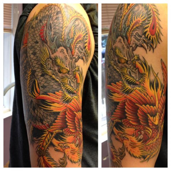 Dragon and phoenix rites of passage tattoo for Tattoo artist phoenix az