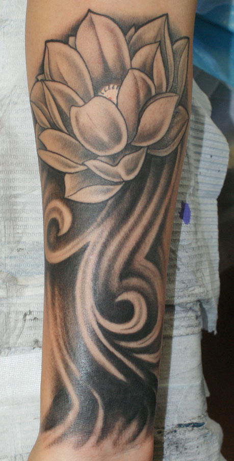 Cover up lotus rites of passage tattoo for Solid black tattoo cover up