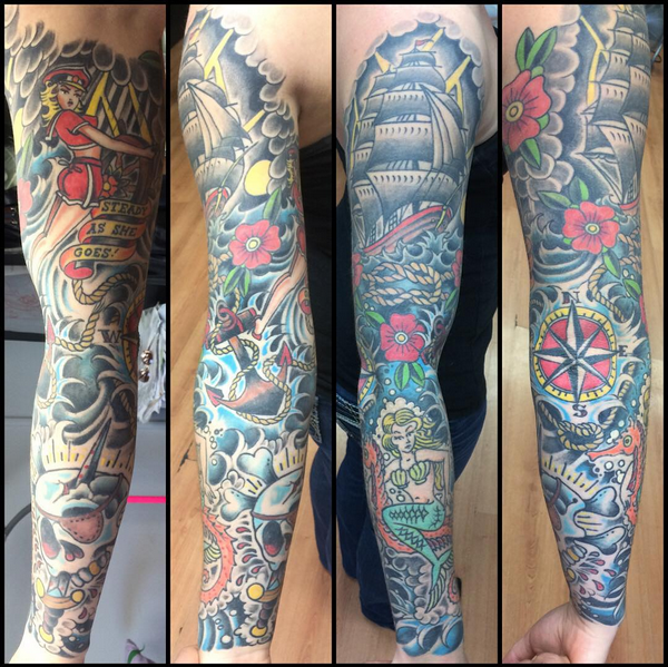 American traditional sleeve rites of passage tattoo for Best traditional tattoo artists