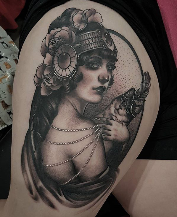 1920s cat lady rites of passage tattoo for Cat lady tattoo